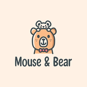 Cute mouse and bear logo