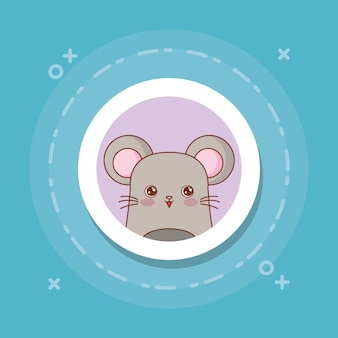 Cute mouse on blue