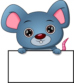 Cute mouse cartoon and blank sign