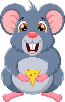 Мультфильм милый мышь держит сыр