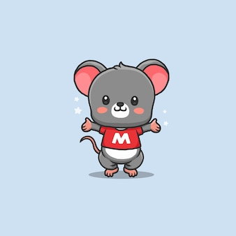 Cute mouse cartoon standing and presenting