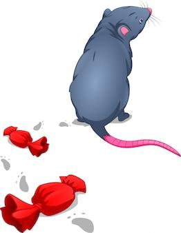 Милый мультфильм мышь