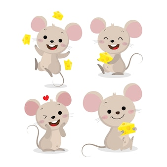 Cute mouse and cheese vector set Premium Vector