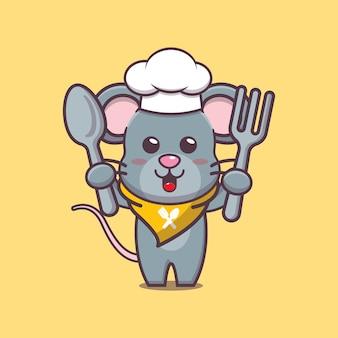 귀여운 마우스 요리사 캐릭터 일러스트