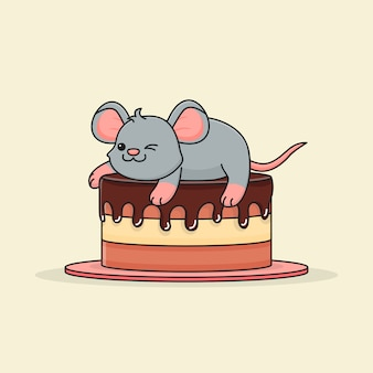 Cute mouse on chocolate cake