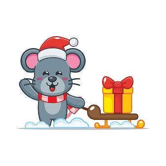 Cute mouse in christmas day carrying gift cute christmas cartoon illustration