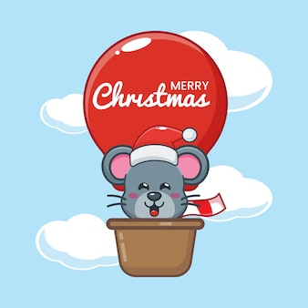 Cute mouse in christmas day fly with air balloon cute christmas cartoon illustration