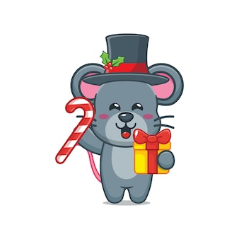 Cute mouse in christmas day holding christmas gift and candy cute christmas cartoon illustration
