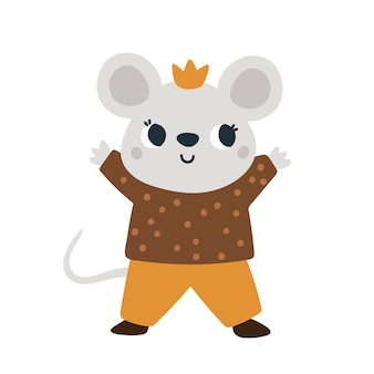 Cute mouse in crown little mice prince baby animal illustration for kids