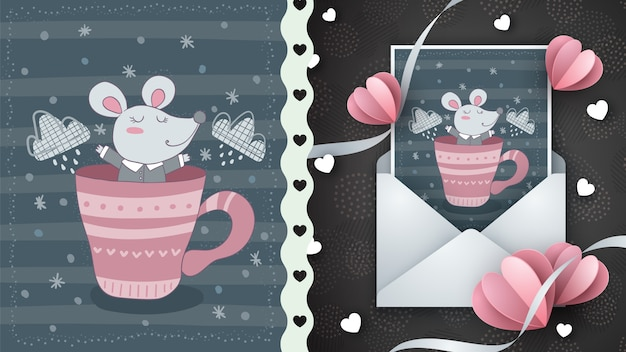 Cute mouse in cup - greeting card