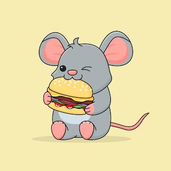 かわいいネズミがハンバーガーを食べる