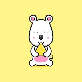 귀여운 마우스는 치즈 만화 아이콘 삽화를 먹습니다. 디자인 고립 된 평면 만화 스타일