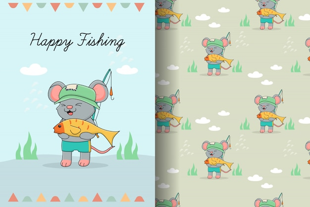 Cute mouse fisher seamless pattern and card