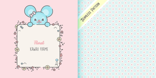 Cute mouse and flowers frame with seamless pattern premium
