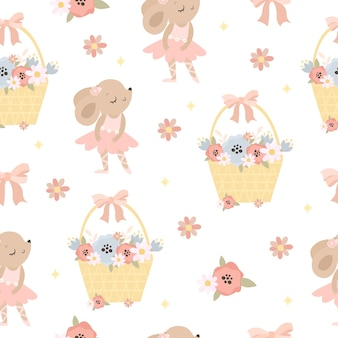 Cute mouse and flowers pattern