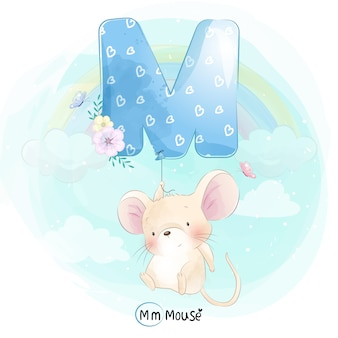 Cute mouse flying with alphabet-m balloon