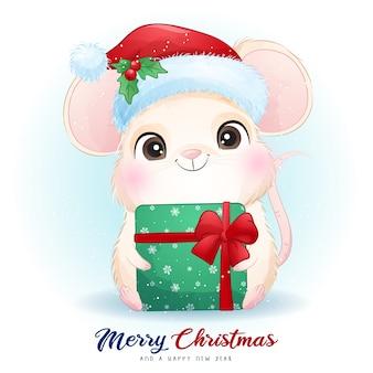 Симпатичная мышь на рождество с акварельной иллюстрацией