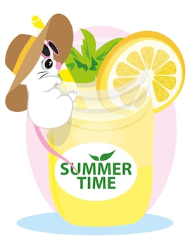 Cute mouse. funny rat with summer hat and glasses drinking lemon juice in a glass