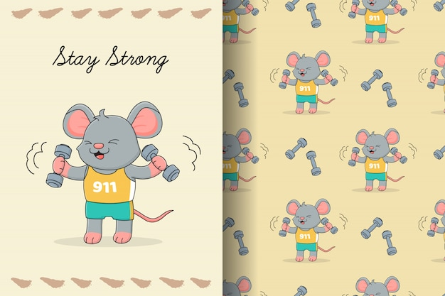 Cute mouse gym boy seamless pattern and card