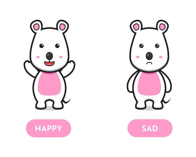 귀여운 마우스 행복하고 슬픈 반대 카드 만화 벡터 아이콘 그림. 격리 된 평면 만화 스타일을 디자인합니다.