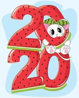 Cute mouse happy new year 2020 with watermelon