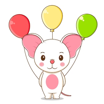 A cute mouse holding balloon
