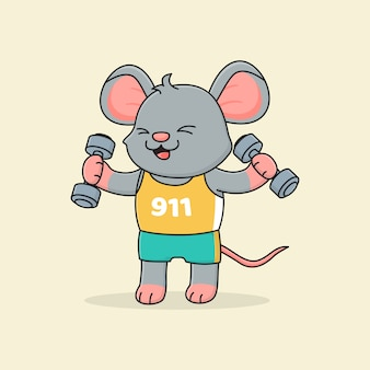 Симпатичная мышь держит штангу