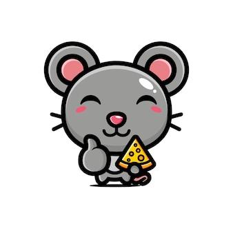 Милая мышка держит сыр в хорошей позе