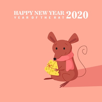 Cute mouse holding a cheese present. happy new year of rat 2020