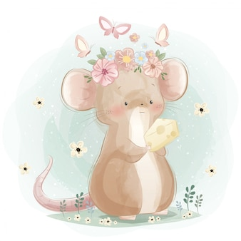 A cute mouse holding a cheese