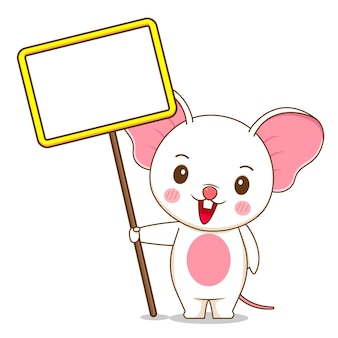 A cute mouse holding empty board