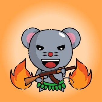 Cute mouse holds ak 47 with flames behind