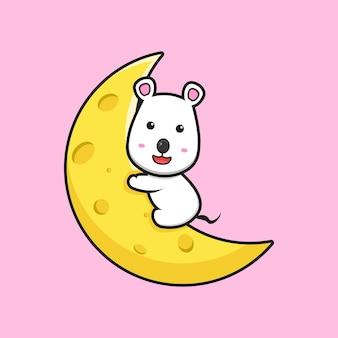 귀여운 마우스 포옹 치즈 달 만화 벡터 아이콘 그림. 격리 된 평면 만화 스타일을 디자인합니다.