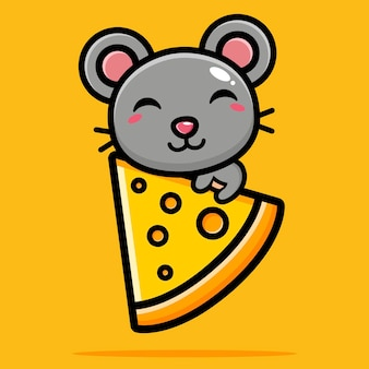 Cute mouse hugging cheese happily
