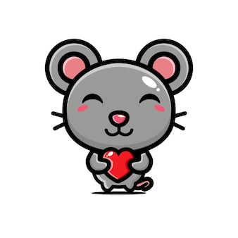 Cute mouse hugging love heart