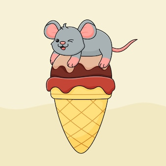 Cute mouse on ice cream cone