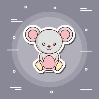 Cute mouse icon over gray background