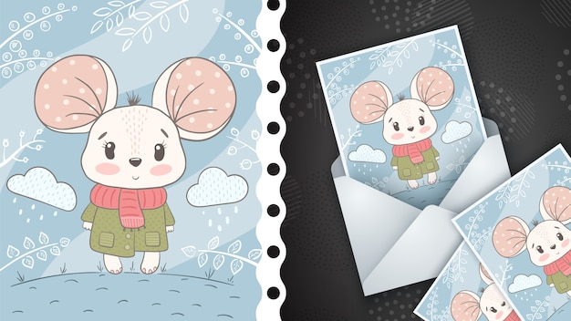 Cute mouse illustration - greeting card