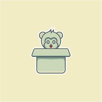 Симпатичная мышь на картоне в мультяшном стиле