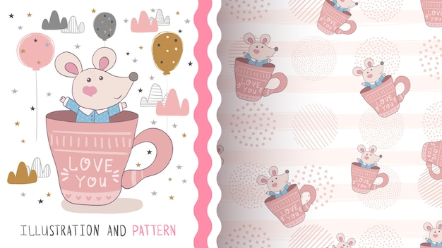 Cute mouse illustration seamless pattern