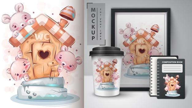 トイレのポスターとマーチャンダイジングでかわいいネズミ