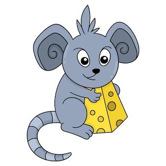 귀여운 마우스가 맛있는 치즈 음식, 벡터 일러스트레이션 아트를 들고 있습니다. 낙서 아이콘 이미지 귀엽다.