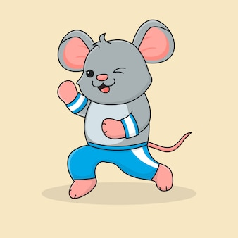 Cute mouse jogging