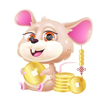 Cute mouse kawaii cartoon  character.