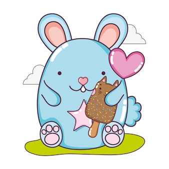 Cute mouse and kawaii cat ice lolly