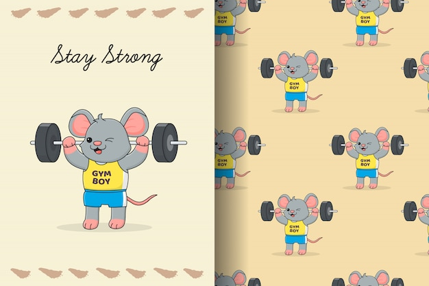 Cute mouse lifting seamless pattern and card
