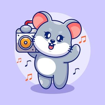 Симпатичная мышь, слушающая музыку с мультяшным бумбоксом