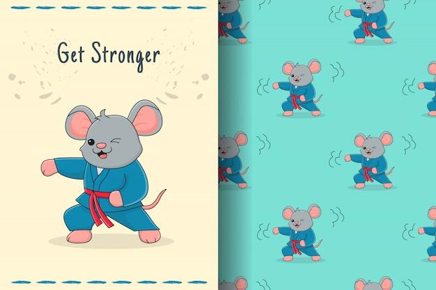 かわいいマウス武術のシームレスなパターンとカード