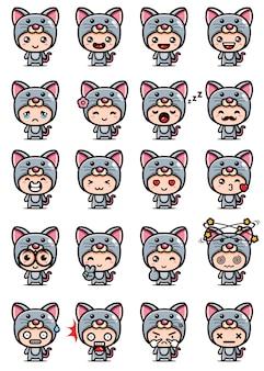 Cute mouse mascot set design
