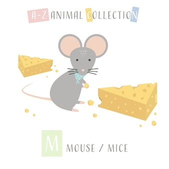 Cute mouse mice cartoon doodle animal alphabet m